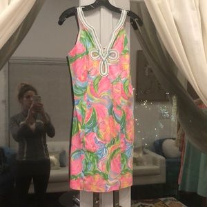 Lilly Pulitzer bright tropical floral sheath dress